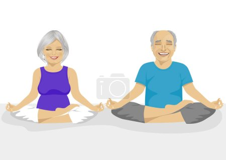 Illustration for Senior couple doing yoga over white background. Body and mind in harmony with nature. - Royalty Free Image