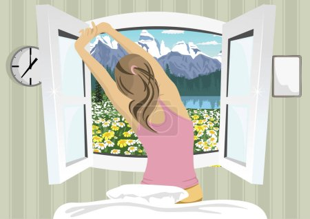 Illustration for Young woman stretching in bed after wake up, back view on summer mountain scenery - Royalty Free Image
