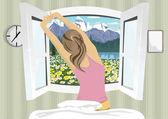 """Постер, картина, фотообои """"Женщина, растяжения в постели после wake up, вид сзади на летний горный пейзаж"""""""