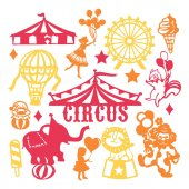 A vector illustration of assorted paper cut silhouette vintage circus set Included in this image are circus tent circus animals people and ice cream