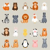 Cute vector animal set Fox bear elephant bear hen chicken chick rooster lion monkey tiger pig donkey rabbit rhino cow zebra sheep penguin