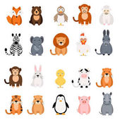 Cute vector animal set on white background Fox bear elephant bear hen chicken chick rooster lion monkey tiger pig donkey rabbit rhino cow zebra sheep penguin