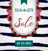Summer sale background with tropical flowers Up to 50%