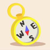 Yellow Compass Cartoon Vector