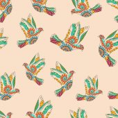 Hand drawn flying doves for adult anti stress colouring page.