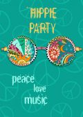 Hippie party poster. Hippy background with sun glasses.