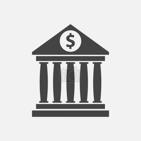 Bank building icon with dollar sign in flat style. Museum vector illustration on white background.
