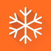 Snowflake icon vector illustration in flat style isolated on orange background with long shadow Winter symbol for web site design logo app ui