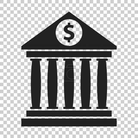 Bank building icon with dollar sign in flat style. Museum vector illustration on isolated background.