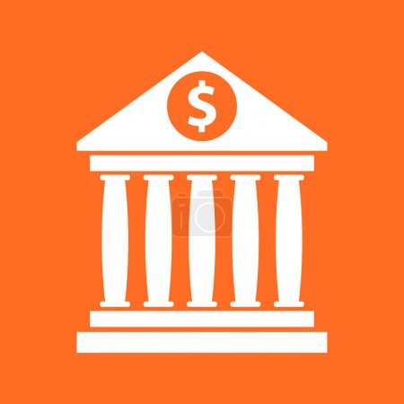 Bank building icon with dollar sign in flat style. Museum vector illustration on orange background.