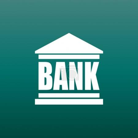 Bank building icon in flat style. Vector illustration on green background.