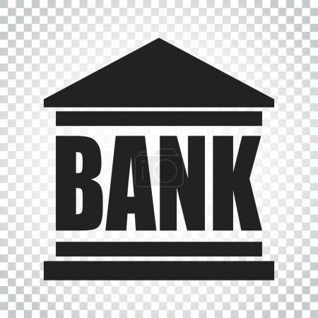 Bank building icon in flat style. Vector illustration on isolate