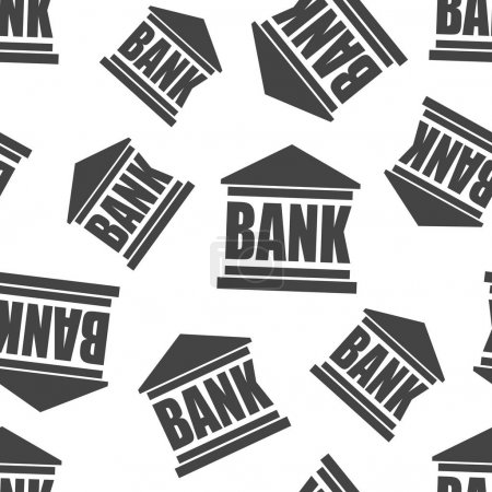Bank building seamless pattern background. Business flat vector
