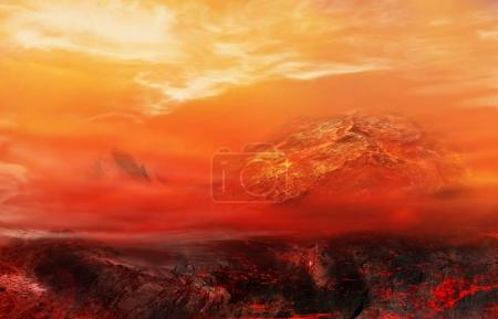 Dramatic nature background . Volcanic breed of a s...