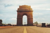 Dramatic angle view of the India Gate monument