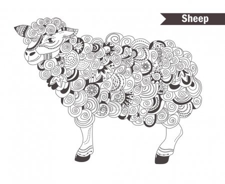 Sheep. coloring book for adult, antistress colorin...