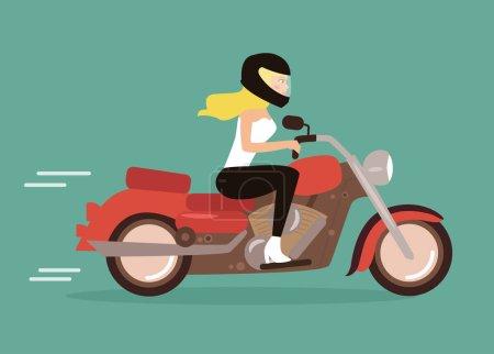 Cartoon girl on a motorcycle