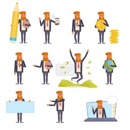 Illustration pour Homme d'affaires vecteur. Caricature. Art isolé sur fond blanc. Plat - image libre de droit