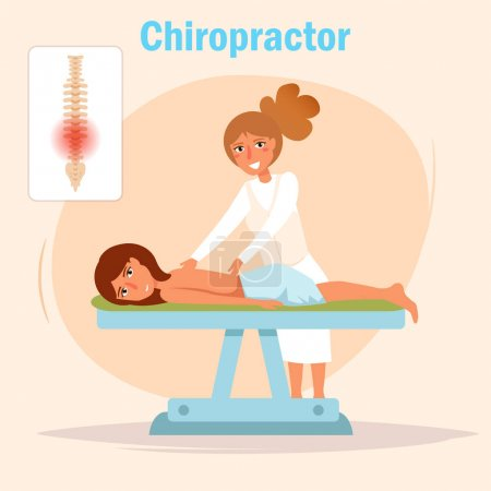 Illustration for Chiropractor Massage Vector. Cartoon. Isolated art on white background. Flat - Royalty Free Image