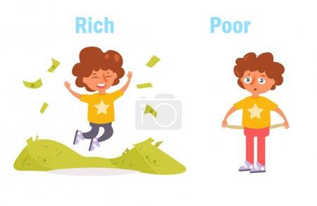 Illustration pour Antonyme. Riche et pauvre vecteur. Caricature. Art isolé sur fond blanc. Plat - image libre de droit