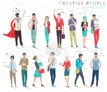 Illustration for Modern vector illustration / Business concept of competition and rivalry/  trying to be leader /  office employees /  life in big city /  can be used for websites and banners / efficiency - Royalty Free Image