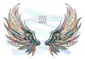 Patterned ethnic wings poster