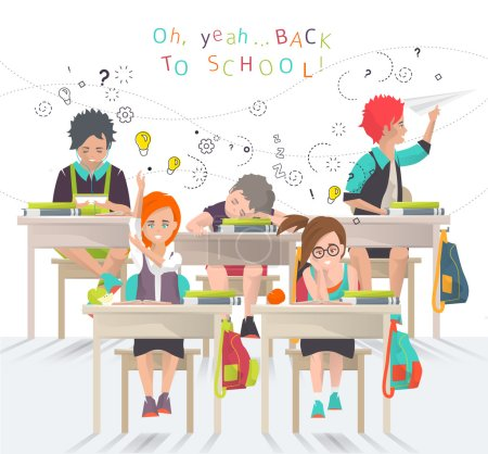Illustration for Modern vector illustration /  back to school concept /  classroom with pupils - Royalty Free Image