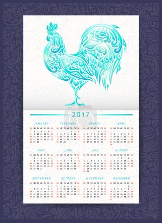 Calendar template with patterned rooster