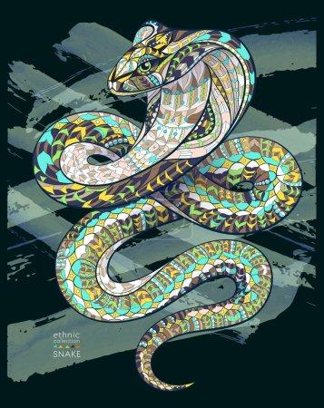 Illustration pour Cobra serpent à motifs sur le fond grunge. Conception africaine / indienne / totem / tatouage. Il peut être utilisé pour la conception d'un t-shirt, sac, carte postale, une affiche et ainsi de suite . - image libre de droit