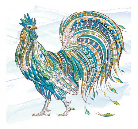 Patterned rooster symbol of chinese new year