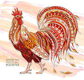 Patterned fiery rooster on the grunge background Symbol of chinese new year / African / indian / totem / tattoo design It may be used for design of a t-shirt bag postcard a poster and so on