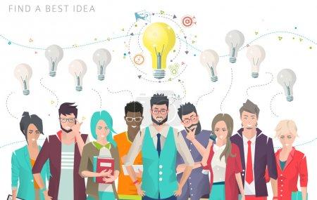 Illustration pour Illustration vectorielle moderne / Concept d'entreprise de choix et de recherche meilleure idée / peut être utilisé pour les sites Web et les bannières - image libre de droit