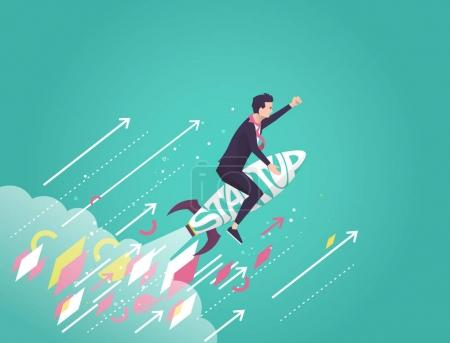 Illustration pour Concept d'entreprise de Start up. Homme d'affaires assis sur une fusée sur fond bleu. Éléments de style géométrique. Illustration vectorielle plate . - image libre de droit