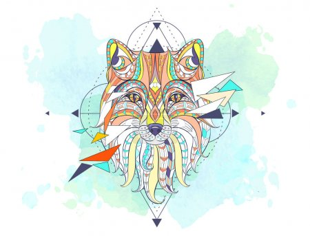 Patterned head of fox with geometry