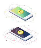 Isometric design with fractured mobile phones