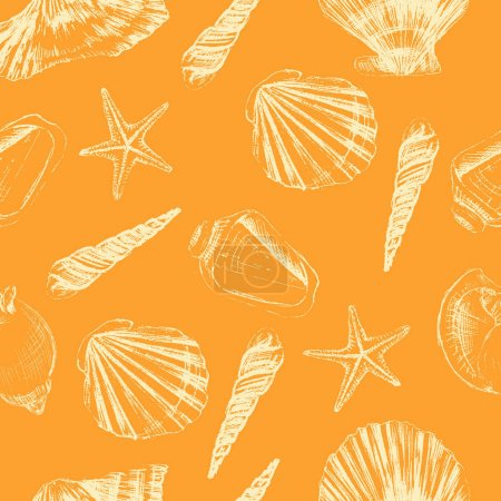 Seashells hand drawn vector etching sketch isolated on orange background, seamless pattern, underwater artistic marine decorative texture, design for greeting card, summer textile, water fabric