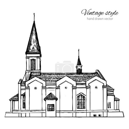 The Church of Perpetual Help Mother Of God, Landmark Russia, Vector hand drawn sketch isolated on white background, vintage style for touristic postcard, calendar template, book illustration
