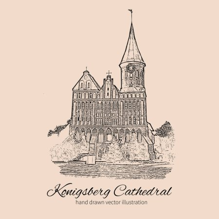 Konigsberg Cathedral, Landmark of the city of Kaliningrad, Russia, Cathedral Church on Kant island, Is main symbol of the city, inside open museum, Vector ink sketch isolated on white background