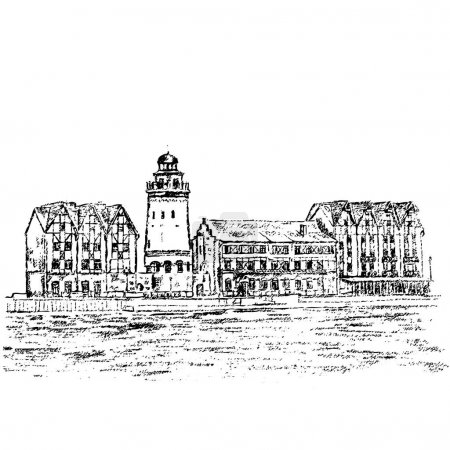 Ethnographic and trade center, embankment of the Fishing Village, Kaliningrad Russia, hand drawn vector sketch illustration isolated on white background, vintage engraved style for touristic postcard