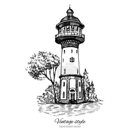 Old water tower, symbol of Zelenogradsk earlier Cranz, Landmark of the Kaliningrad region, Russia, Vector hand drawn sketch isolated on white background, Postcard drawing template with european houses