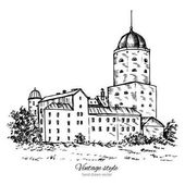 Vyborg castle Europe Old Swedish castle in Vyborg city landmark Russia Hand drawn vector ink sketch isolated on white background vintage style Design for travel postcards calendar template