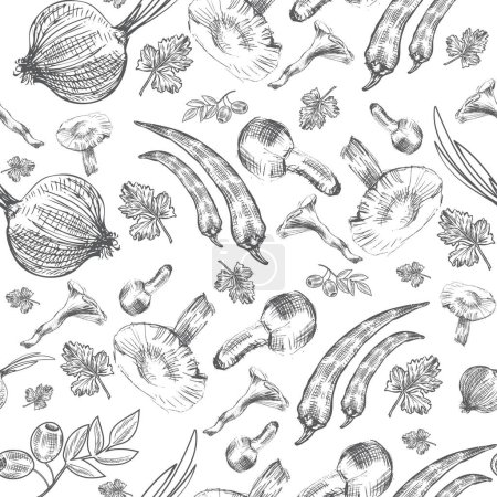 Vector seamless pattern, Hand drawn sketch vegetable, Mushrooms,