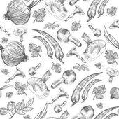 Vector seamless pattern Hand drawn sketch vegetable Mushrooms