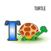 Cute Zoo alphabet T with cartoon turtle kid wild animal vector funny illustration isolated on background Education for children preschool ABC poster for learn to read character design mascot