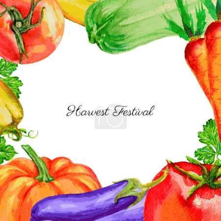 Illustration pour Légumes aquarelle avec inscription fête de la récolte. illustration vectorielle dessinée à la main isolée sur blanc - image libre de droit