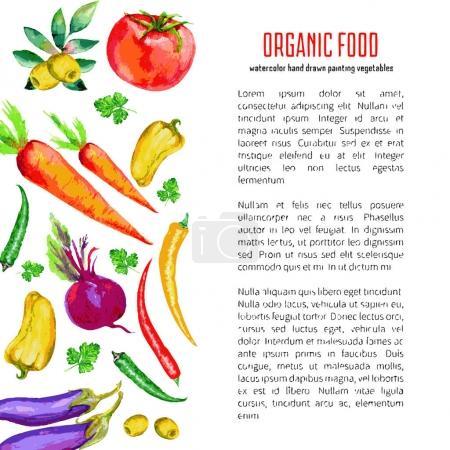 Illustration pour Légumes aquarelle avec texte bio, illustration vectorielle - image libre de droit
