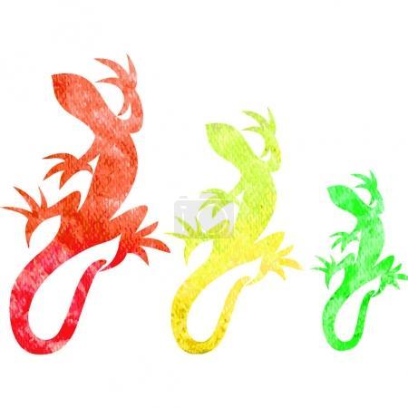 Set of decorative lizards silhouette