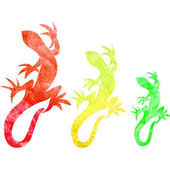 Set of decorative watercolor red yellow and green lizards silhouette isolated on white background Hand drawn vector reptiles illustration wild animal for logo mascot design template page cover