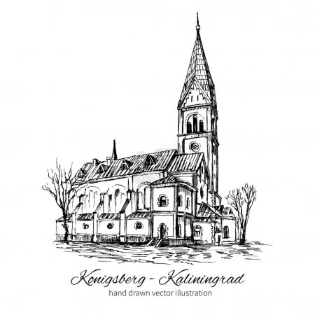 The Church of Queen Luisa, Luizenvahl, Landmark of the city of Kaliningrad, Russia, Is main symbol of the Konigsberg, Vector hand drawn ink urban sketch isolated on white, Historical building art
