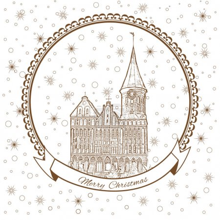 Konigsberg Cathedral, Landmark of the city of Kaliningrad, Russia, Vector Christmas greeting card with Cathedral Church on Kant island, snowflakes, Template poster with snowed-in city street, postcard